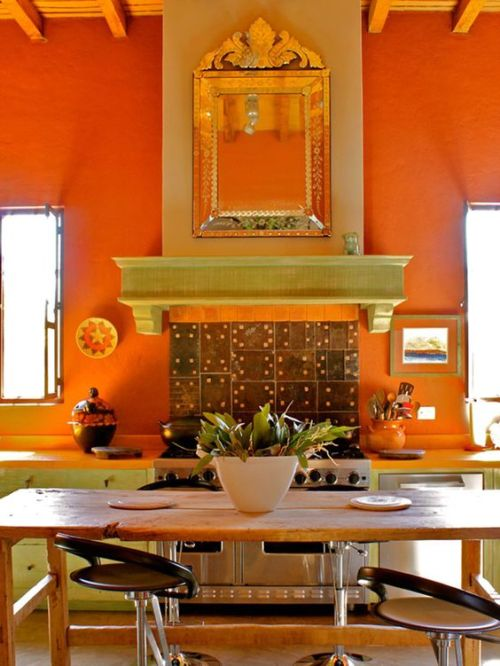 Decor Styles Mexico Vintage Antique Furniture in Bright Orange and Green Kitchen