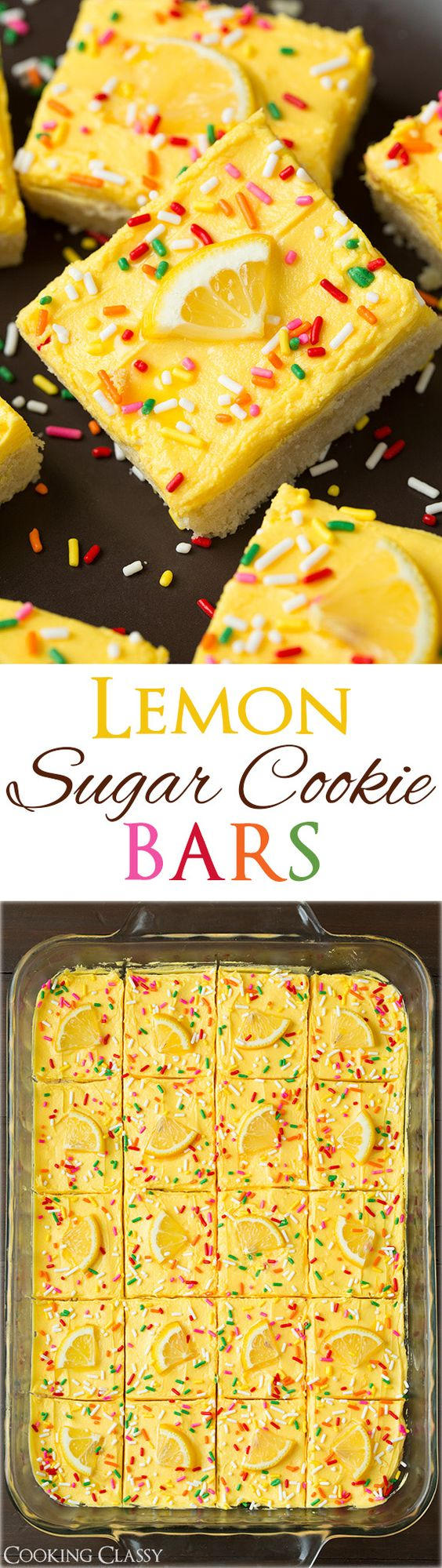 Lemon Sugar Cookie Dessert Bars Recipe via Cooking Classy - these are one of the BEST summer treats! They are so lemony and refreshing and they are as soft as lofthouse cookies.