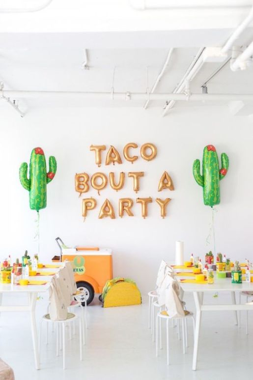 Cinco de Mayo party decor ideas - Taco bout a party sign, tacos and tequila themed party