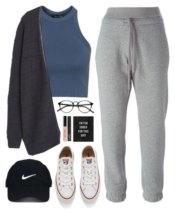"""Too sober for this"" by sharinganjea ❤ liked on Polyvore featuring Topshop, Converse, adidas, MANGO, Nike Golf, NARS Cosmetics and Bobbi Brown Cosmetics"