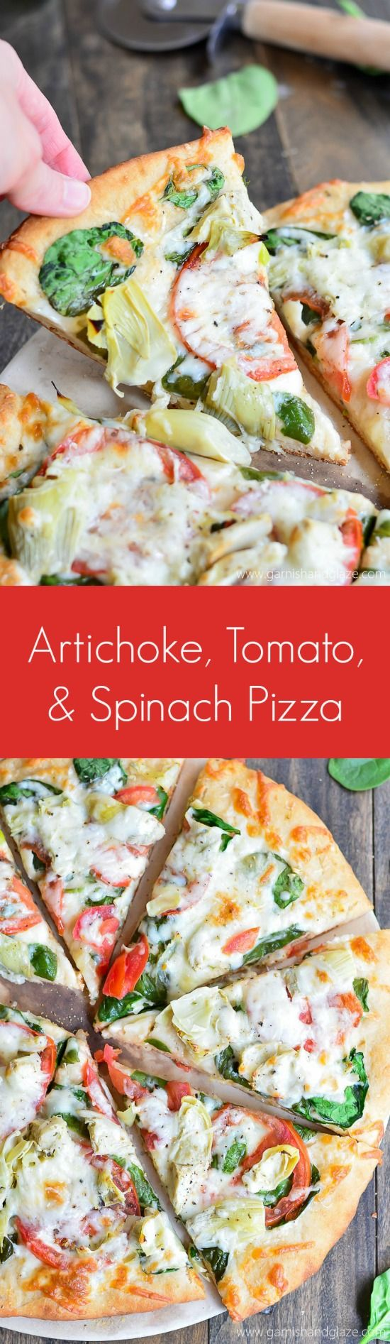 Artichoke, Tomato, and Spinach Pizza Recipe via Garnish & Glaze - Go meatless with this veggie topped Artichoke, Tomato, and Spinach Pizza made on a No Knead, No Rise Pizza Dough crust.