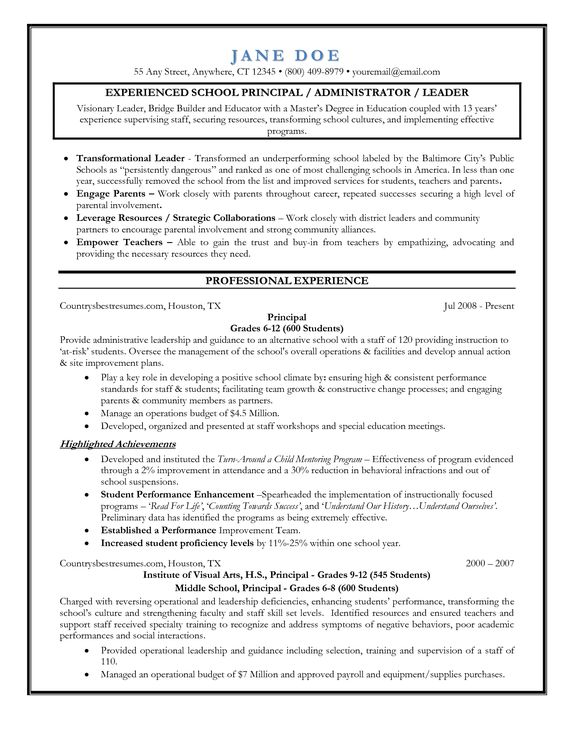 assistant principal principal and resume on pinterest