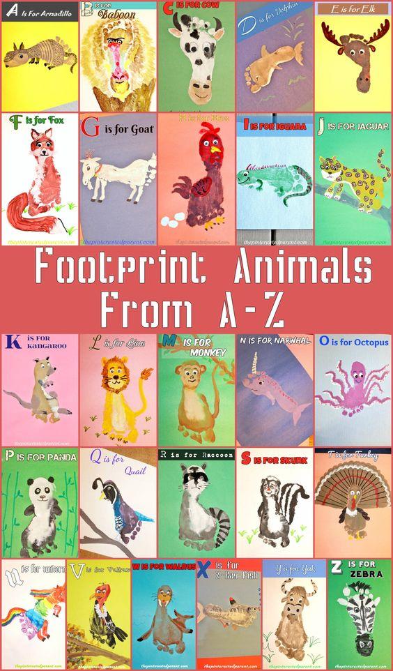 Kid's Footprint Animal Crafts for AZ Kids Handprint
