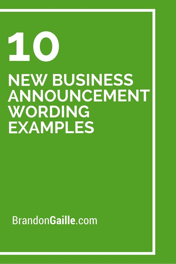 10 New Business Announcement Wording Examples Business