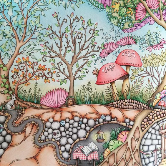 enchanted forest  colouring page ideas  pinterest