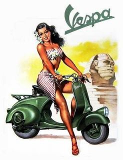 VESPA Vintage Pinup Girl QUALITY CANVAS PRINT Retro