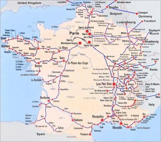 France Train Map of TGV high speed train system with all departures from downtown Paris to the rest of France.: