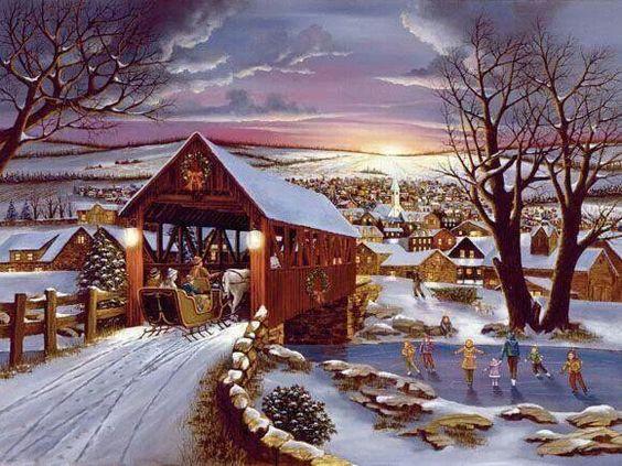 Old Fashioned Winter Christmas Scenes Via Don Fox ART