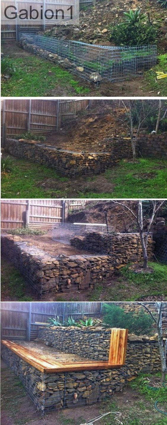 stepped gabion garden retaining wall http//www.gabion1