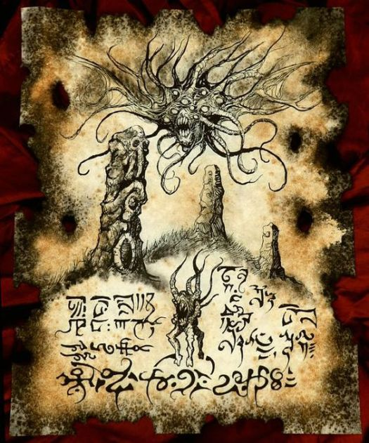 DUNWICH HILLS cthulhu larp Necronomicon Fragment by zarono