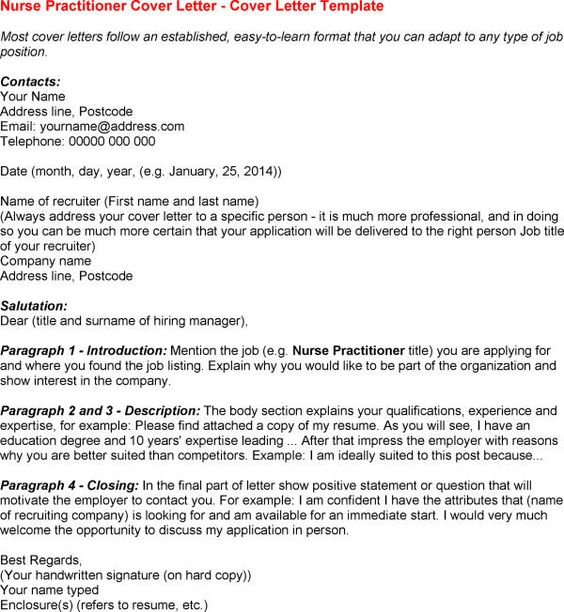 nurse practitioner cover letters and sample resume on pinterest
