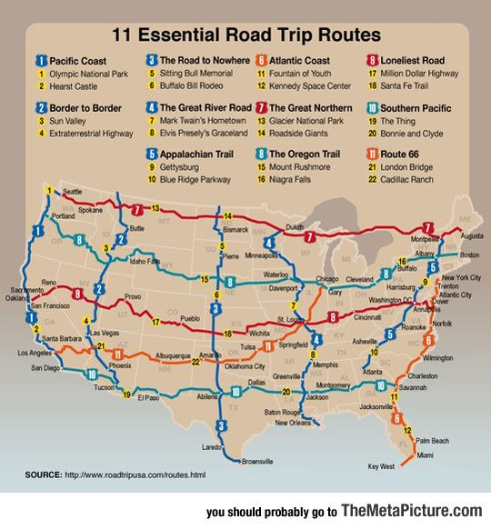 Funny Pictures: Must-Do Road Trips In The US: