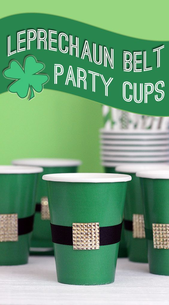 St. Patrick's Day Party: DIY Leprechaun Belt Cups via Cutefetti come together in a couple of quick steps!