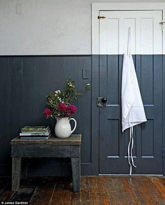 "Erinn Valencich on Instagram: ""The striking dual-toned walls are a fresh take on classic wall paneling; the crisp dividing line is a modern replacement for a dado rail, and the contrasting lighter shade gives the illusion of height and space, for a similar heavy blue, try @farrowandball Railings."" : #jamesgardiner:"