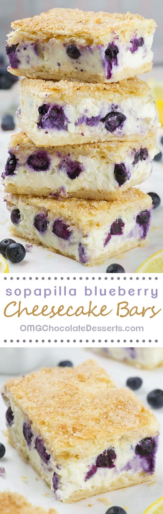 Sopapilla Blueberry Cheesecake Bars Dessert Recipe via OMG Chocolate Desserts - 5 minutes of prep time, 6 simple ingredients and the best Sopapilla Blueberry Cheesecake Bars you've ever tasted is ready!