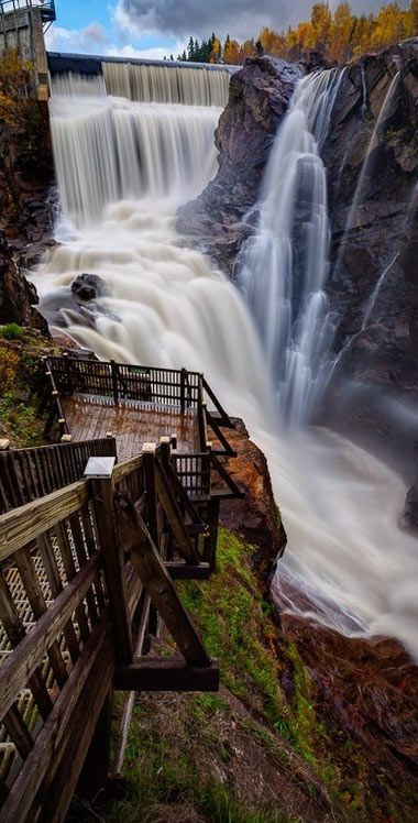 The Seven Falls - is a series of seven cascading waterfalls in Colorado Springs, Colorado. The sum of the height of the seven falls is 181 feet (55.17 m) and there are a total of 224 steps on the staircase from the base of the falls to the peak.: