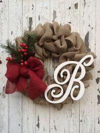 Winter Burlap Wreath