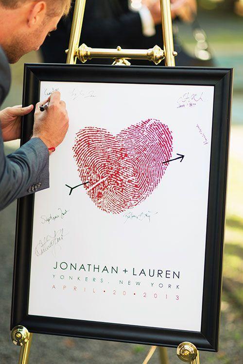 Casamento | Livro de Convidados (inspirações pra fazer o seu): Quadro de assinaturas. A ideia de ter um quadro como lembrança também pode ser feita com as digitais só dos noivos, e as assinaturas dos convidados em volta.: