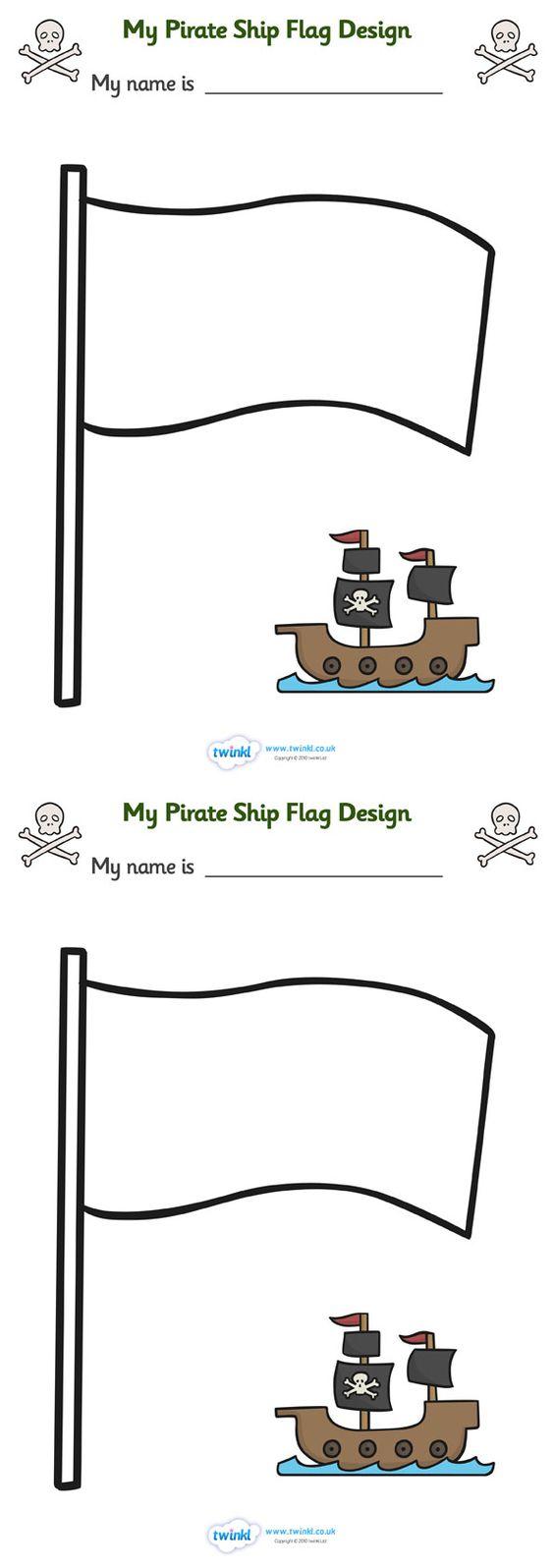 Twinkl Resources Gt Gt Design Your Own Ship Flag Worksheet