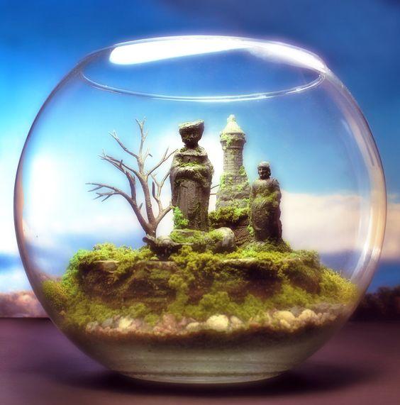 Enchanted Chess Fantasy Terrarium Diorama Mini Zen