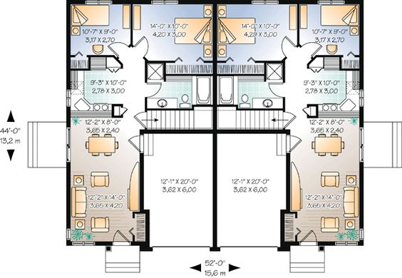 Duplex Plan Chp-44105 At COOLhouseplans.com Loose