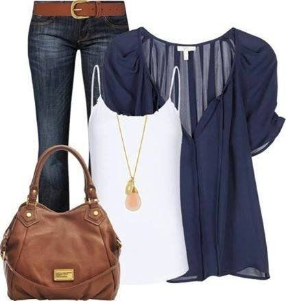 I love these colors and accessories. The shirt is basic bit has enough detail to not be boring: