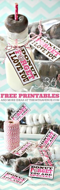 "Free Printable ""Donut Forget I Love You"" Valentines! via The 36th Avenue - These are simple and adorable"