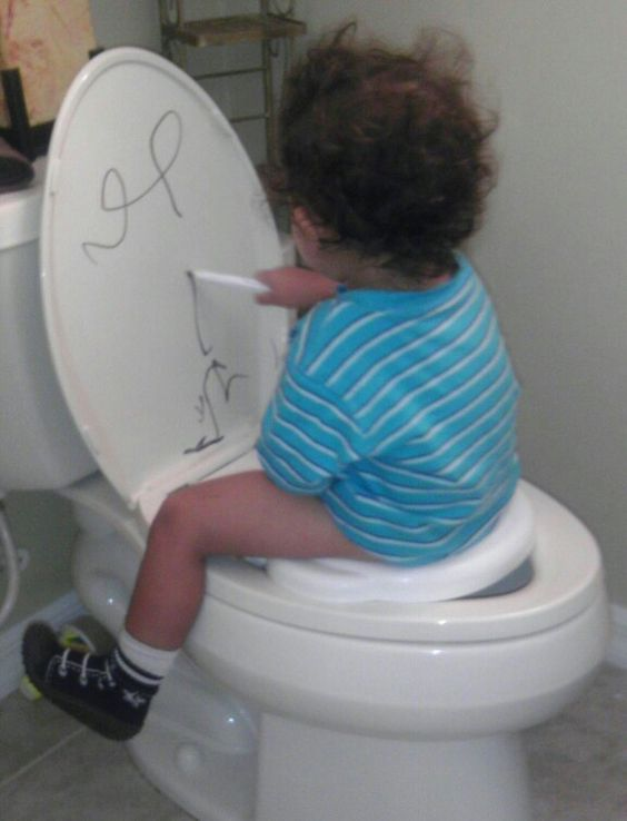 Best potty training idea... Potty training plus pre-writing practice (dry erase…: