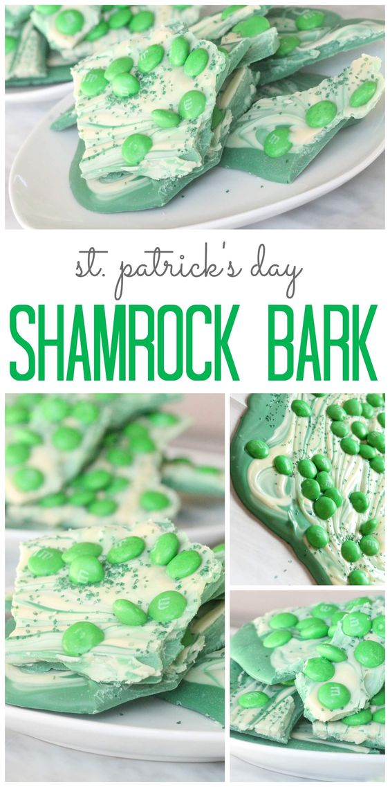 This Shamrock Bark Recipe via Passion for Savings only requires 3 ingredients, it's SUPER Easy to make and the Kids will EAT IT UP! It's perfect for St. Patricks Day Parties and Treats.