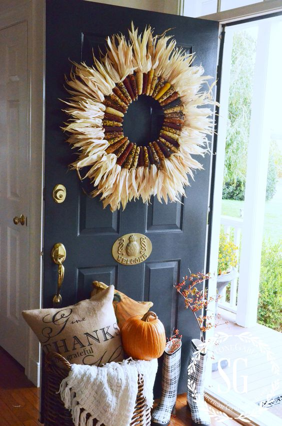 INDIAN CORN WREATH DIY-open door--stonegableblog.com: