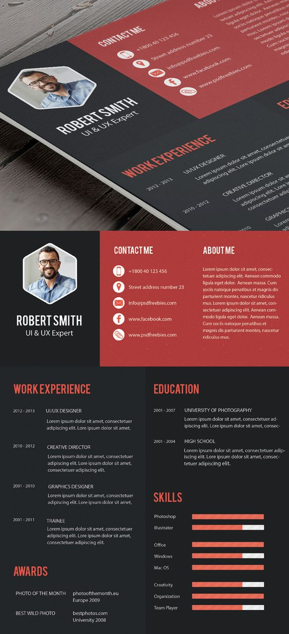 Creative Professional Resume Template Free PSD Free PSD
