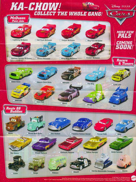 Disney Cars Diecast Complete List Mattel Disney Pixar