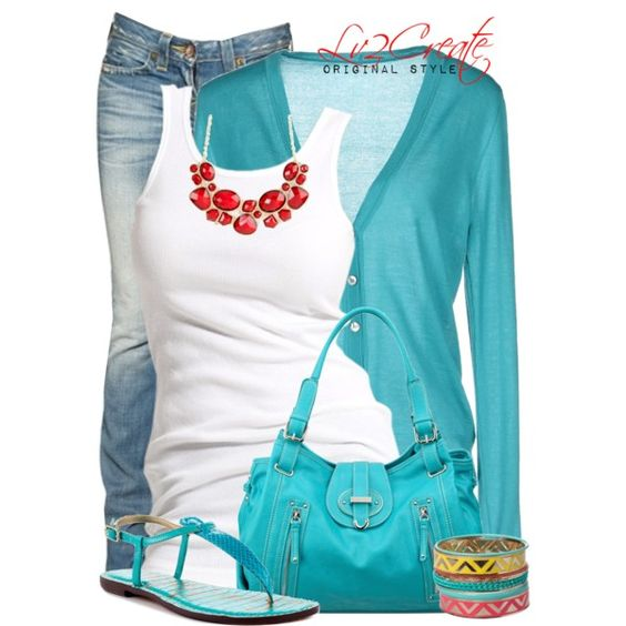 Love these colors together and really love the Turquoise cardigan!!! created by lv2create on Polyvore: