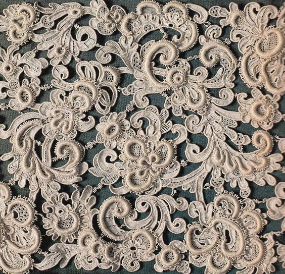 Venetian gros point needle lace. date unknown. could be 19th c copy.: