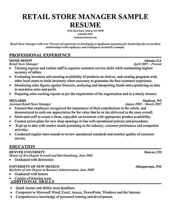 Retail Position Resume Examples. Resume Restaurant Position Resume
