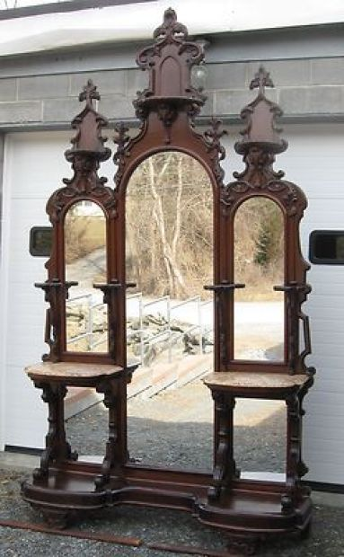 Victorian Walnut Entry Hall Mirror: