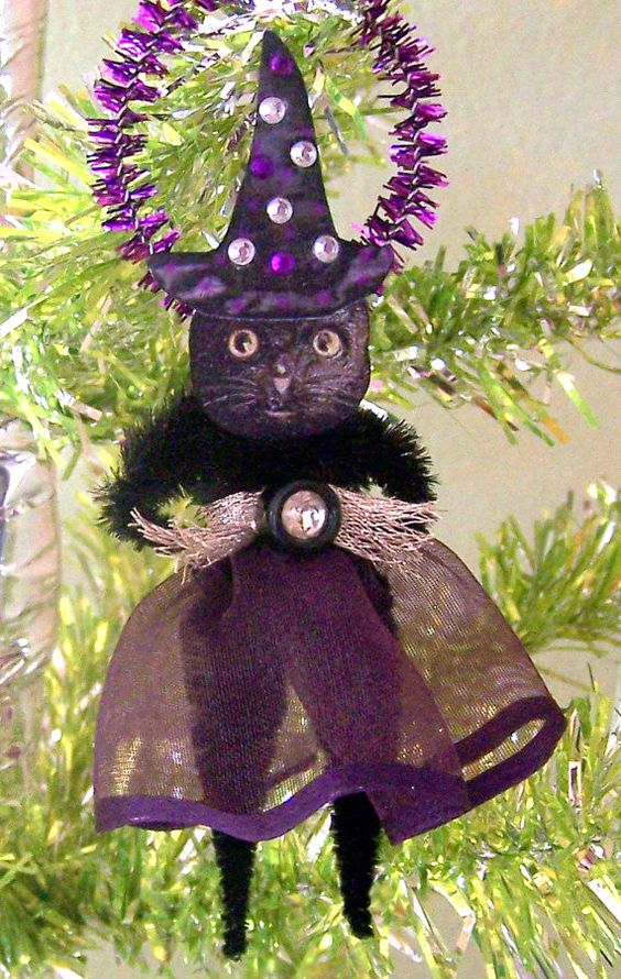 Kitty Witch Vintage Style Halloween Feather Tree by