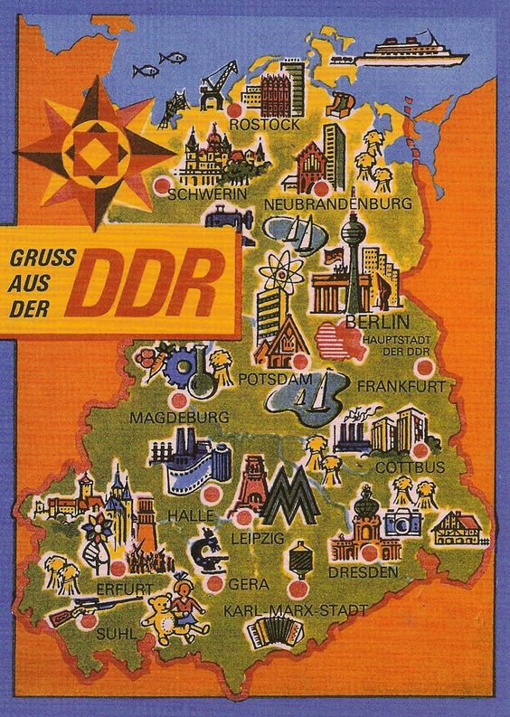 DDR East Germany map … Pinteres…
