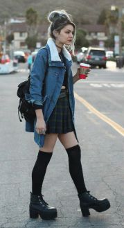 Faux shearing denim jacket, crop top, plaid skirt, long socks & nosebleed boots: