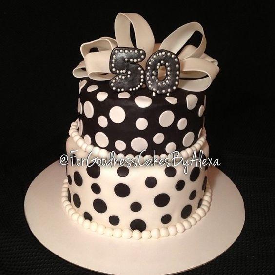 Elegant Black And White 50th Birthday Cake My Cakes