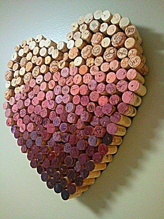 Wine Cork Craft Ideas for DIY Wall Decor - DIY Wine Cork Heart - DIY Projects & Crafts by DIY JOY:
