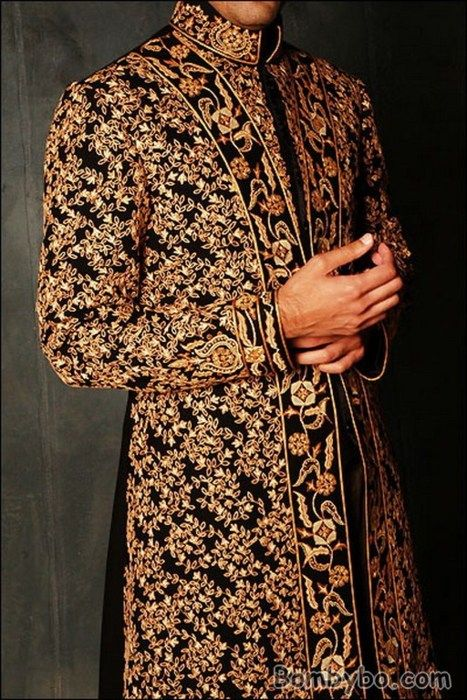 Indian groom black & gold sherwani. Wedding