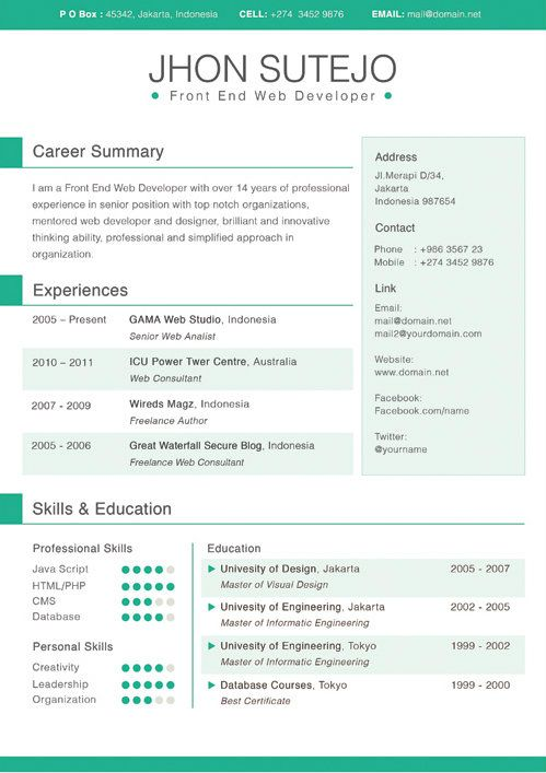 resume template resume templates business resume indesign template