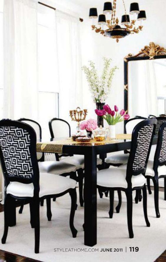 A Divine Dining Room. Black and White with Gold Accents. Interior Designer: Delia Mamann.: