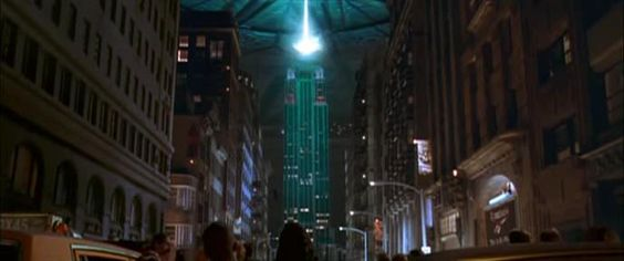 The alien ship bombing Empire State Building in the film