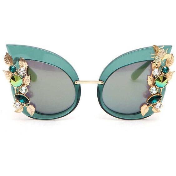 DOLCE & GABBANA Jewlery embellishment 'botanic garden' sunglasses found on Polyvore featuring accessories, eyewear, sunglasses, glasses, floral sunglasses, floral glasses, embellished sunglasses, floral print sunglasses and dolce gabbana sunglasses