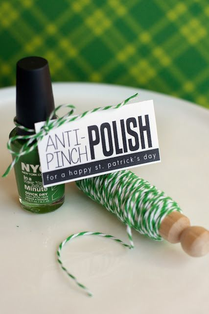 Anti-Pinch Nail Polish St. Patrick's Day Free Printable Gift Tags via eighteen25 - Help your friends out this St. Patrick's Day with some Anti-Pinch Polish in a lovely shade of green. Just print the tags out and attach to some green polish with twine. Or place in a 4×6 clear plastic bag with some paper crinkle. a quick little gift that ispractically guaranteedto keep the pinches away!