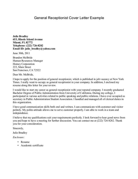 resume cover letter examples for receptionist aafi