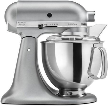 This KitchenAid Artisan Mixer is in the ever popular color, Silver Metallic, that will look great on any counter top.  The KitchenAid Artisan Mixer has a 325W motor, 5qt bowl, pouring shield and a tilt-back mixer $249.99: