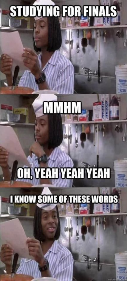 Studying for finals. Ha! -: